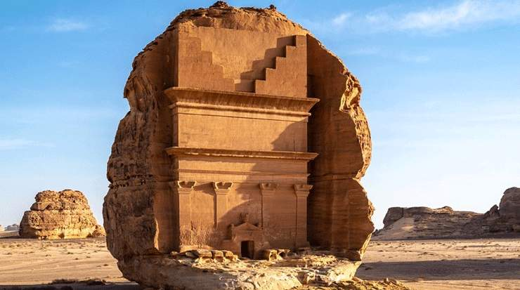 Nabataean tombs that make up the Hegra UNESCO World Heritage Site at AlUla