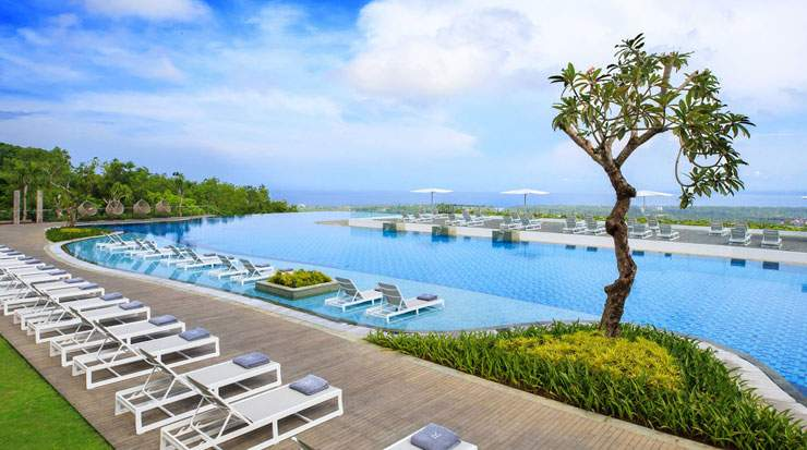 The hotel features an infinity pool, saltwater pool and a separate pool for children