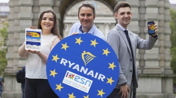 Robin Kiely, head of communications, Ryanair, with Erasmus students