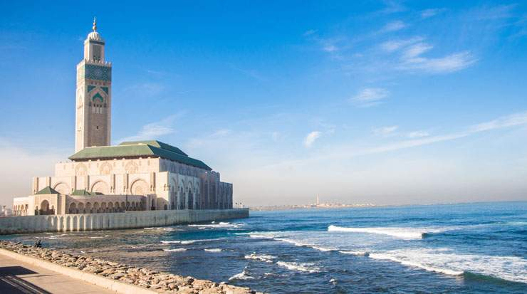 Casablanca landmarks include Morocco's largest mosque, the Hassan II Mosque