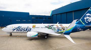 Alaska Airlines animated Toy Story 4 aircraft