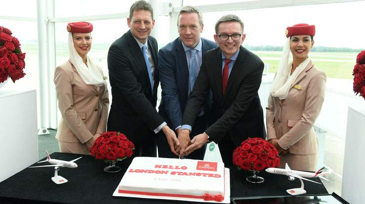 Emirates and London Stansted held a launch event to celebrate the airline's arrival