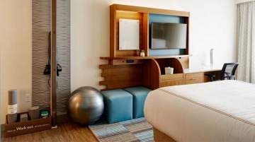 EVEN Hotel Seattle Downtown/South Lake Union guest rooms include a dedicate workout space