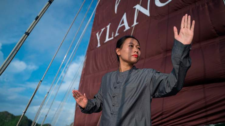 Guests can enjoy early-morning tai chi lessons on deck