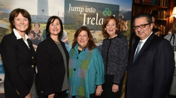 AMetcalfe; Elizabeth Crabill and Susan Black, CIE Tours International; Joan O'Shaughnessy, chairman, Tourism Ireland; and Athar Khan, Delta Air Lines